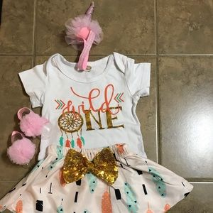 Wild one themed outfit with unicorn head wrap